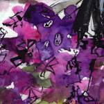 """Abstract Floral Lilac and Black 3"" by GinetteCallaway"