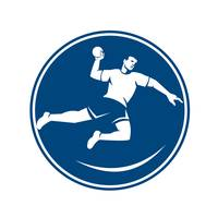 Handball Player Jumping Throwing Ball Icon