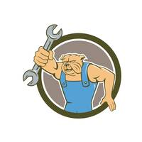 Bulldog Mechanic Holding Spanner Circle Cartoon