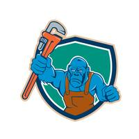 Angry Gorilla Plumber Monkey Wrench Shield Cartoon