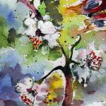 """Spring Blossoms Watercolor and Ink by Ginette"" by GinetteCallaway"