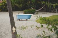 Bathtub, sand and palms