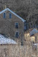 Old Stone House on Cold Winter Midwest Day