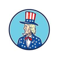 Uncle Sam TopHat American Flag Cartoon