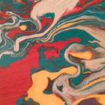 """flow abstract in red, teal, ochre, and gray"" by paperwerks"
