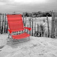 The Red Beach Chair Art Prints & Posters by Nina Bradica