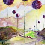 """Giant Allium Fantasy Watercolor by Ginette"" by GinetteCallaway"