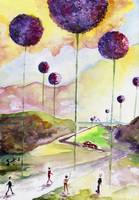 Giant Allium Fantasy Watercolor by Ginette