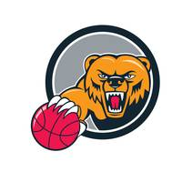 Grizzly Bear Angry Head Basketball Cartoon