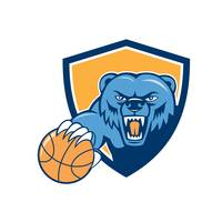 Grizzly Bear Angry Head Basketball Shield Cartoon