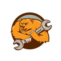 Grizzly Bear Mechanic Spanner Circle Cartoon