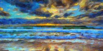 I-1202 Sunset at the Beach - 16x32