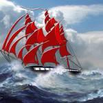 Clipper Ship Indian Queen in Rough Seas