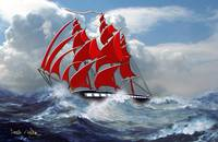 Clipper Ship Indian Queen in Rough Seas