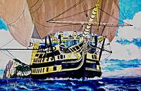 HMS Victory en route to the Battle of Trafalgar 18