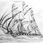 Pencil Drawing of a Clipper Ship based on the Cutt
