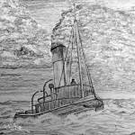 My pencil drawing of a Steam Tugboat