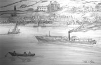 My Pencil Drawing of a Paddle Steamer on the Danub