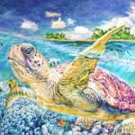 """""""Sea Turtle (oil)"""" by Liliya_Chernaya"""