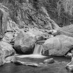 """Rocky Mountain Stream Black White"" by lightningman"