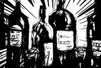 Wine Bottles black and white