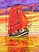 An Acrylic painting of a Clipper Ship Wearing Red