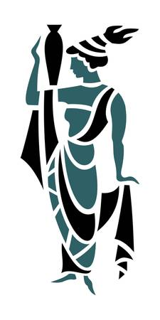 Greek Woman in Teal Holding Urn