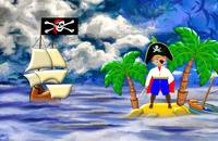 Toon Boy Pirate on a Desert Island