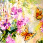 """Peonies and Monarch Butterflies"" by GinetteCallaway"