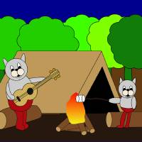Cats Camping Art Prints & Posters by Valerie Waters