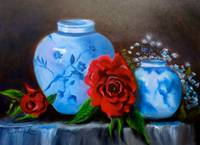 Blue and White Pottery, Red Roses