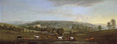 A panoramic view of Chatsworth House and Park, ear