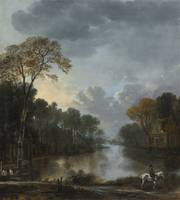 AERT VAN DER NEER, LANDSCAPE AT TWIGHLIGHT WITH A