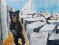 Bear with howling wolves