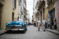 Old car and people in Havana Vieja