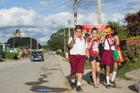 Kids walking home from school in Viñales, Cuba