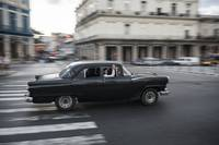 Old American car taxi driving in Havana, Cuba
