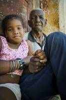 Old man and young girl in Trinidad, Cuba