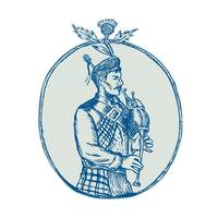Scotsman Bagpiper Playing Bagpipes Etching