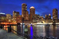 Boston Skyline and Boston Harbor at Night