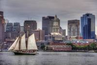 Boston Skyline and Tall Ship Sailing on the Harbor