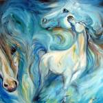 """BLUE MYSTIC SKY EQUINE"" by MBaldwinFineArt2006"