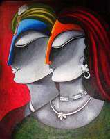 Krishna and Radha- Original Acrylic Painting