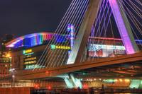TD Garden and the Zakim Bridge - Boston Cityscape