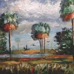 """Cabbage Palm Trees and Birds"" by mazz"
