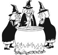 Halloween Witch's Stir A Bubbling Cauldron