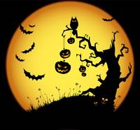 Halloween, Scary Tree, Full Moon, Bats