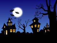 Halloween Spooky Full Moon Bats Night