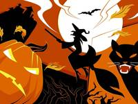 Halloween, Witch, Black Cat, Jack-O-Lantern