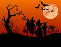 Halloween Full Moon, Trick Or Treaters, In Costume